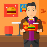 Man with fast food. Stock Photo
