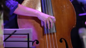 Man Fast Play Double Bass. At a jazz concert smooth zoom in closeup