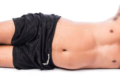 Man Fat Laying on the floor Stock Photo