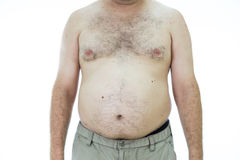 Man with fat stomach Royalty Free Stock Image