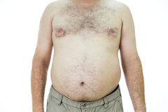 Man with fat stomach. Obese man with fat stomach, front view Royalty Free Stock Image