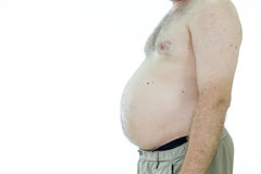 Man with fat stomach Royalty Free Stock Images