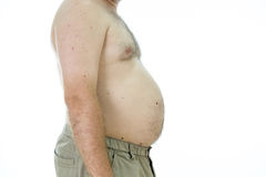 Man with fat stomach. Obese man with fat stomach, side view Stock Images