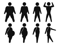 Man From Fat to fit. Isolated male stick figure From Fat to fit from white background Royalty Free Stock Images