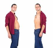 Man  from fat to fitness in before and after Royalty Free Stock Photos