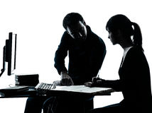 Man father teacher student girl teenager homework. One men father professor and student teenager girl helping for homework in silhouette indoors isolated on royalty free stock image