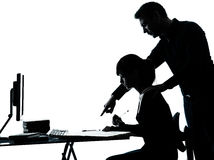 Man father teacher student girl teenager homework silhouette Stock Photo