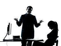 Man father teacher student girl teenager homework silhouette Stock Image
