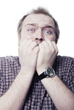 Man in a fear Royalty Free Stock Photo
