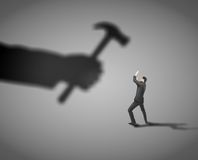Man fears. Shadow hammer blow royalty free stock photography