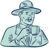 Man Fedora Hat Drinking Coffee Etching Stock Image