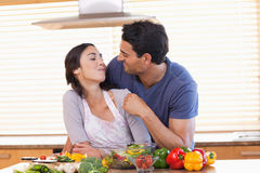 Man feeding his fiance Royalty Free Stock Images
