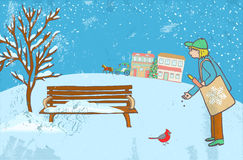 Man feeding a winter bird and a couple in a horse carriage, christmas tree and city buildings on a background. Illustration of a Man feeding a winter bird and a Royalty Free Stock Photo