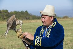Man feeds falcon, circa Almaty, Kazakhstan. Stock Photo