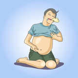 Man feel full. From eat Stock Photos