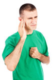 Man feeling pain in ear Royalty Free Stock Photo