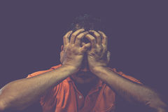 Man feeling sadness, Dark dramatic style Stock Photography