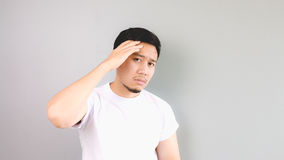 A man feeling sick with his hand on his head. Royalty Free Stock Photos
