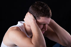 Man feeling strong migraine Stock Images