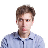 Man feeling suspicious, face expression, emotion Royalty Free Stock Photography