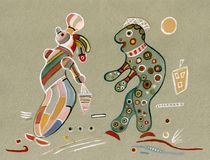 On Kandinsky`s motives. Man feels  admiration looking at the beautiful woman Stock Photography