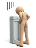 A man feels aging while doing a piss. Stock Image