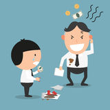 The man feels cheated after he paid compensation. Illustration Royalty Free Stock Image