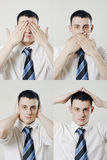 Man feels in safety royalty free stock photos