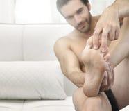 Man feet stock photo
