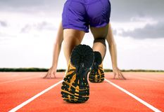Man Feet on Running Track Stock Images