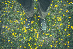 Man Feet trekking boots walking on grass Royalty Free Stock Photography