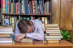 Man fell asleep during reading Stock Photos