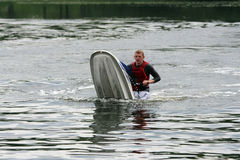 A man fell down from jet ski Royalty Free Stock Images