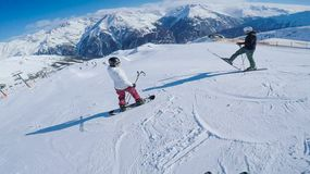 Kids Waiting To Go On Freestyle Ramps Slopes Austria Royalty Free Stock Photo