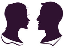 Man and female profile silhouette. Isolated man and female profile silhouette on white background Royalty Free Stock Image