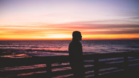 Man by fence overlooking sea Royalty Free Stock Image