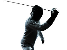 Man fencing silhouette Stock Photography
