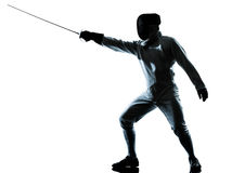Man fencing silhouette Stock Image