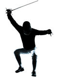 Man fencing silhouette Stock Photos