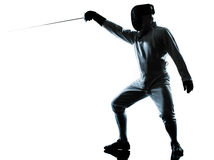 Man fencing silhouette Royalty Free Stock Photo