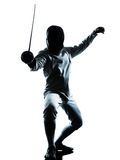 Man fencing silhouette Stock Photo