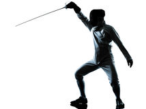 Man fencing silhouette Royalty Free Stock Photography