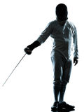 Man fencing silhouette saluting Royalty Free Stock Photography