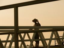 Man On Bridge On Ilha Culatra Portugal Stock Photography