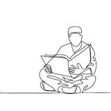 Man in fez reading Koran. Continuous line drawing vector illustration Royalty Free Stock Photos