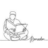 Man in fez reading Koran. Continuous line drawing vector illustration Royalty Free Stock Photography