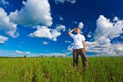 Man on field Stock Image