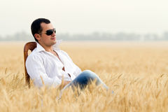 Man in field Stock Photo