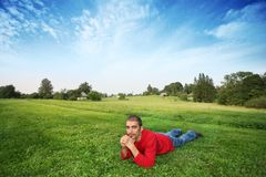 Man on field Stock Photography