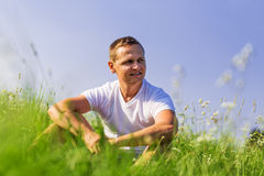 Man on the field. Royalty Free Stock Images